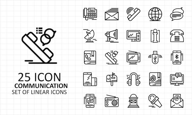 25 lineare kommunikationssymbole Premium Vektoren