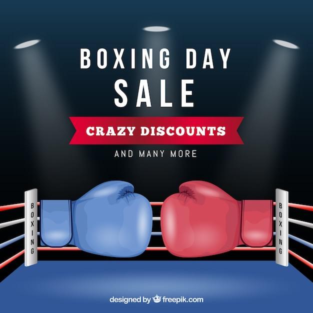 26. dezember-verkaufshintergrund mit boxhandschuh Kostenlosen Vektoren