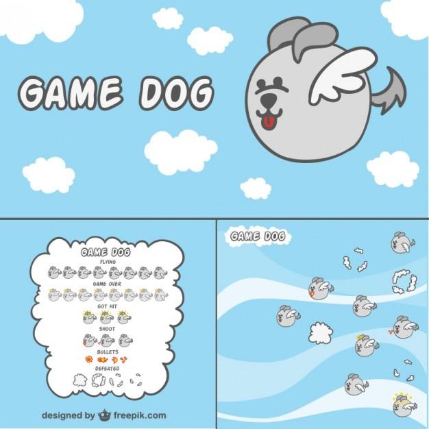 2d-spiel hundecharakter Kostenlosen Vektoren