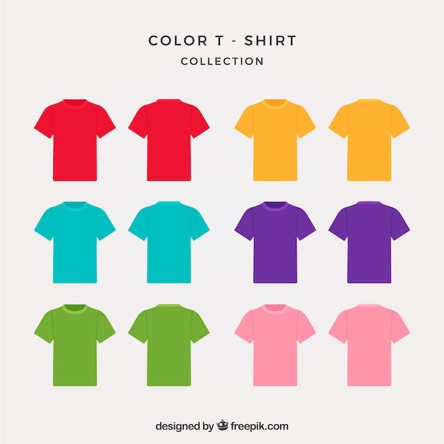 2d t-shirt sammlung in verschiedenen farben Kostenlosen Vektoren