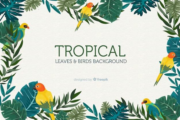 2d tropischer blätter- und vogelhintergrund Kostenlosen Vektoren