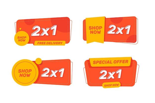 2x1 werbeetiketten Premium Vektoren