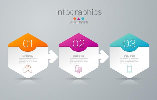 3 schritte business infografik elemente für die präsentation Premium Vektoren