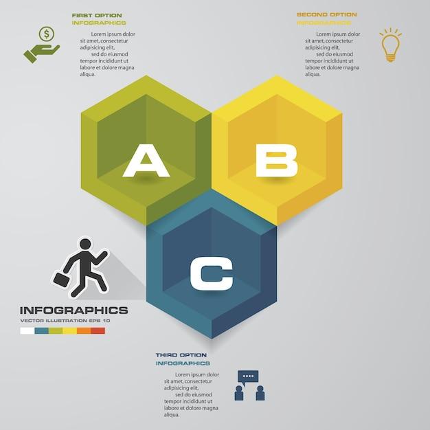 3 schritte verarbeiten infografiken element für die präsentation. Premium Vektoren