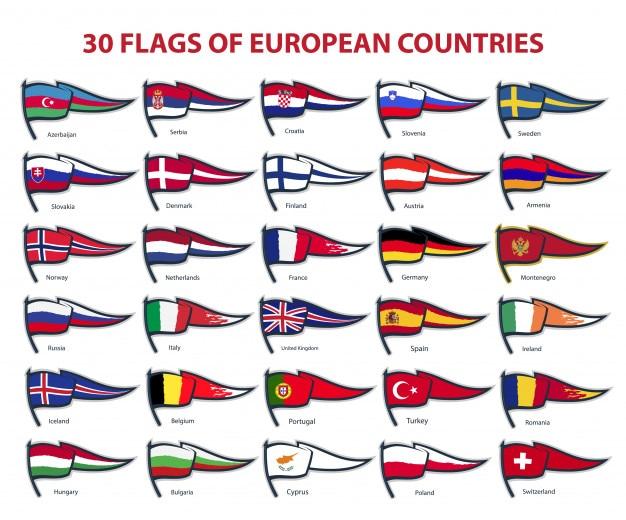 30 flaggen europäischer länder Premium Vektoren
