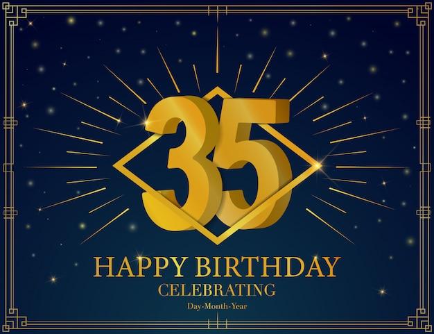 35 alles gute zum geburtstag jubiläum feier grußkarte. Premium Vektoren
