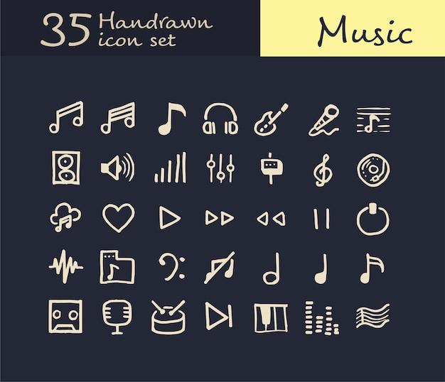 35 handgezeichnete musik-ikone Premium Vektoren