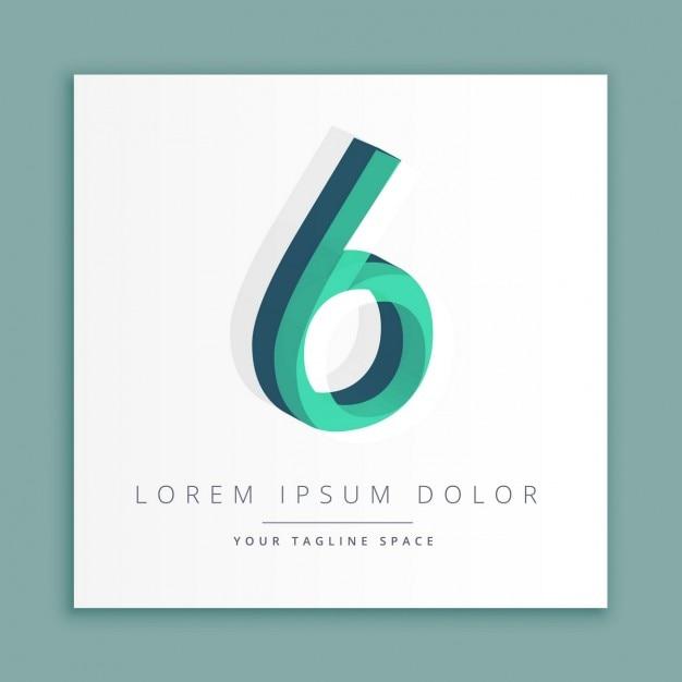 3d abstrakt logo mit der nummer 6 Kostenlosen Vektoren