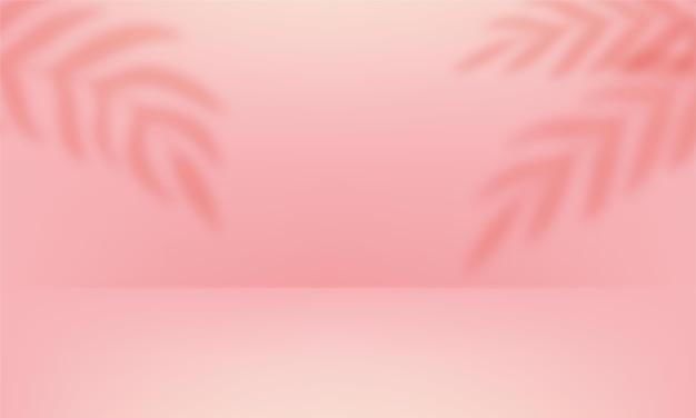 3d-bühne mit schattenüberlagerung von zweigen, blättern, pflanzen. weiches rosa leeres studiozimmer Premium Vektoren