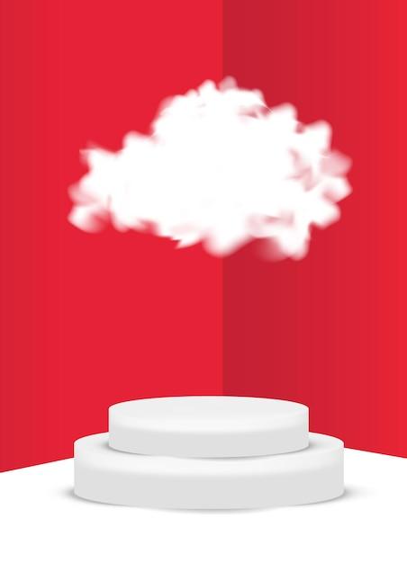 3d-cloud-podiumszene für produktanzeige oder -platzierung Premium Vektoren