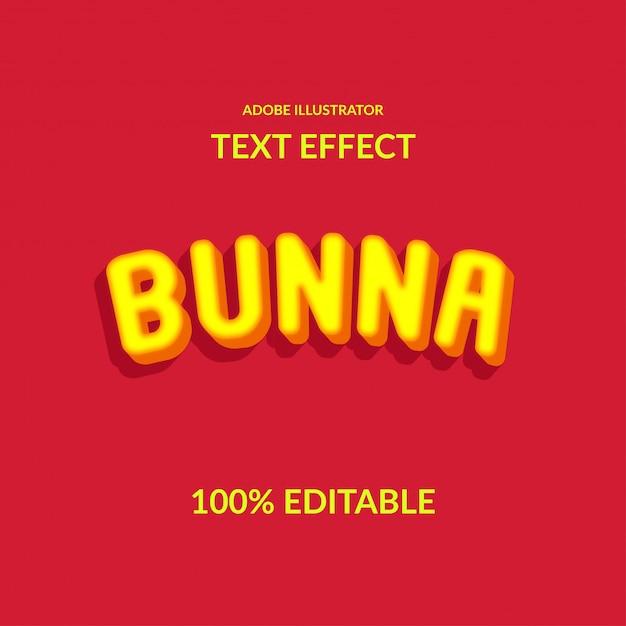 3d extrudieren gelben runden schrifttext-effekt für kind und glückliche freude Premium Vektoren