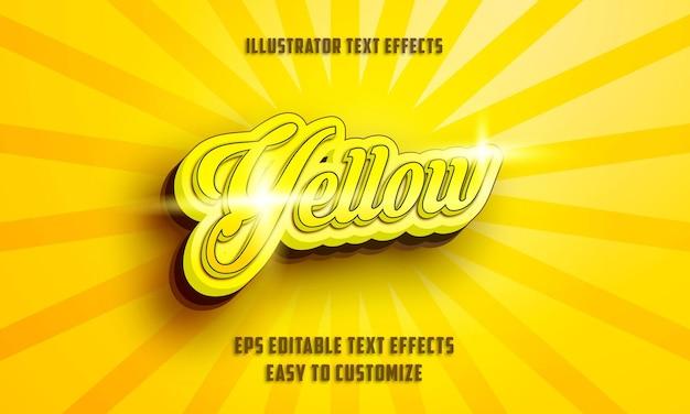 3d gelber kursivstil bearbeitbarer texteffektstil Premium Vektoren