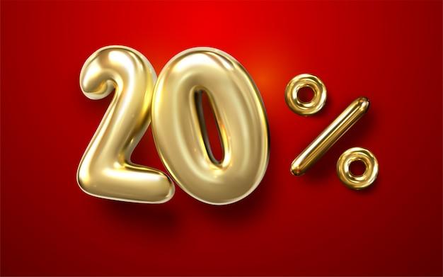 3d goldballon 20% phrase auf rotem hintergrund Premium Vektoren