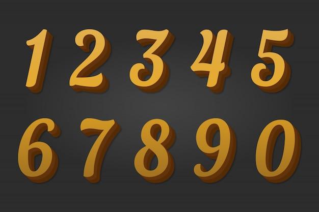 3d goldene zahlen 0-9 Premium Vektoren