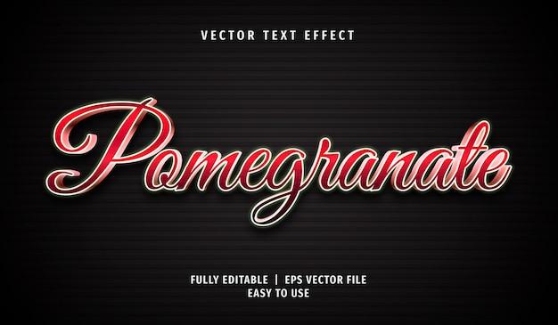 3d granatapfel-texteffekt, bearbeitbarer textstil Premium Vektoren