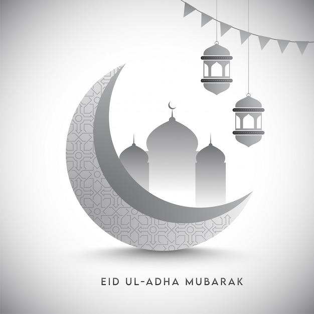 3d grauer halbmond mit moschee, hängenden laternen und flaggenflaggen auf glänzendem weißem hintergrund für eid ul-adha mubarak. Premium Vektoren
