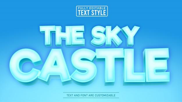 3d ice sky castle spiel und filmtitel bearbeitbarer texteffekt Premium Vektoren