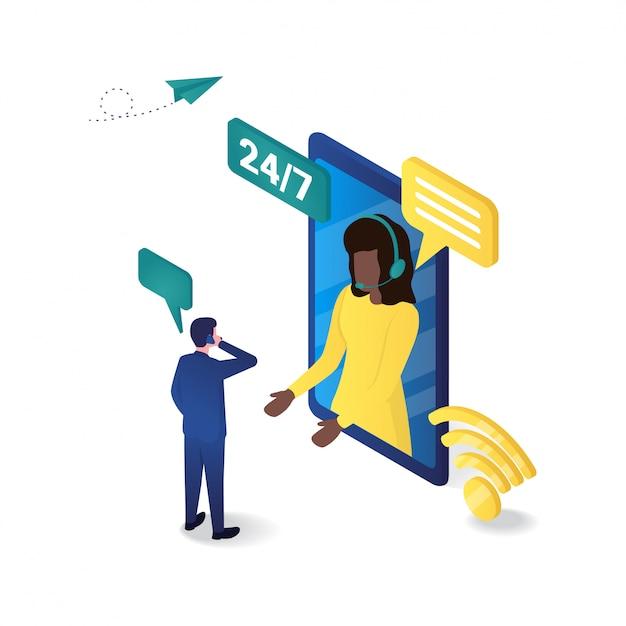 3d isometrie der online-kundenbetreuung Premium Vektoren