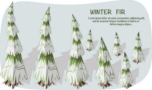 3d isometrische darstellung. satz isometrische tannenbäume mit schnee und schatten. Premium Vektoren