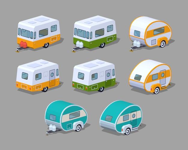 3d isometrische rv camper sammlung Premium Vektoren