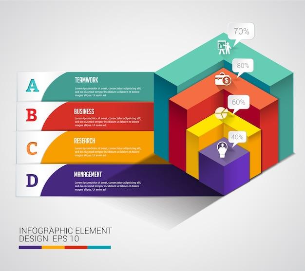 3d kubisches modernes diagrammgeschäft infographic. Premium Vektoren