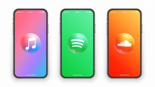 3d-logo der musik-app, runde glänzende symbole auf dem smartphone-bildschirm. mobile apps und websites Premium Vektoren