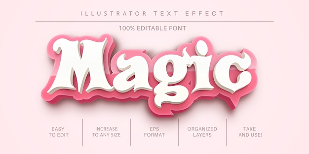 3d magischer textstil, schrifteffekt Premium Vektoren