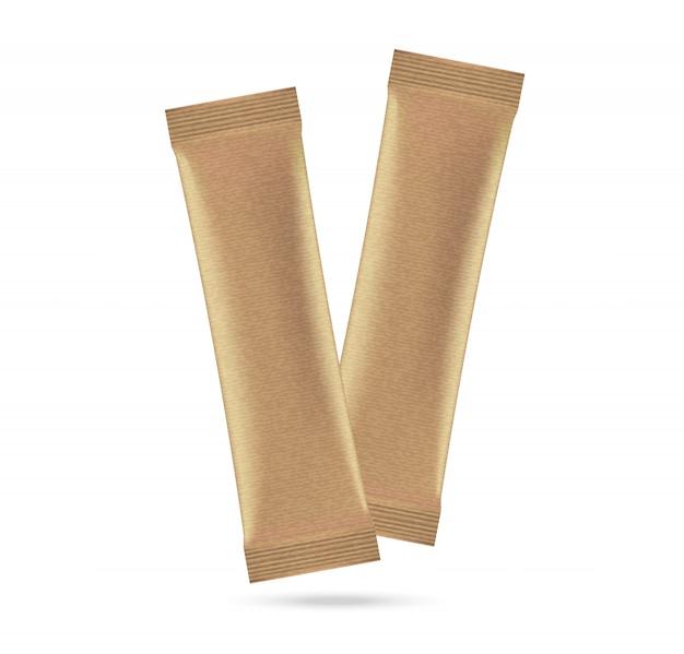 3d mock up matte sachet bag isoliert auf weiß Premium Vektoren