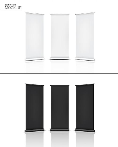 3d mock up realistische kiosk display pop stand ausstellung Premium Vektoren
