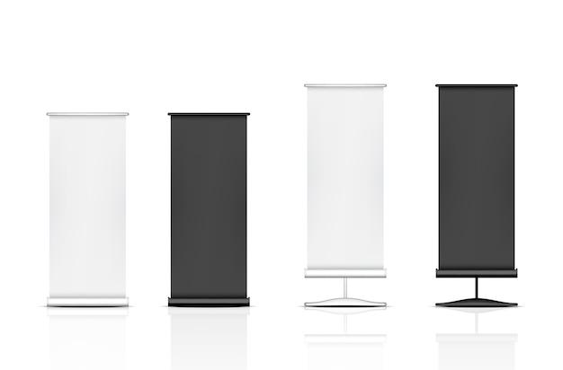 3d mock up realistische roll up banner pop für verkauf Premium Vektoren