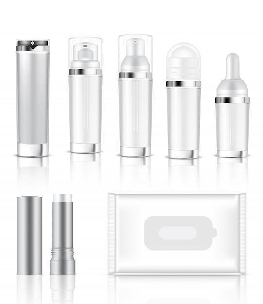 3d-mock-up realistische transparente flasche und sachet Premium Vektoren