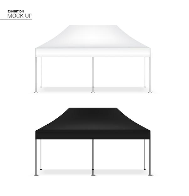3d mock up realistische zelt display pop booth für ausstellung Premium Vektoren