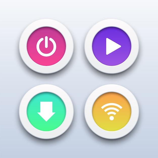 3d modern power-, play-, download- und wifi-buttons. Premium Vektoren