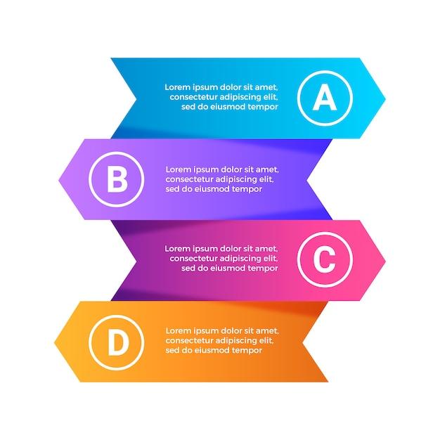 3d moderne bunte schritte infografiken festgelegt Kostenlosen Vektoren