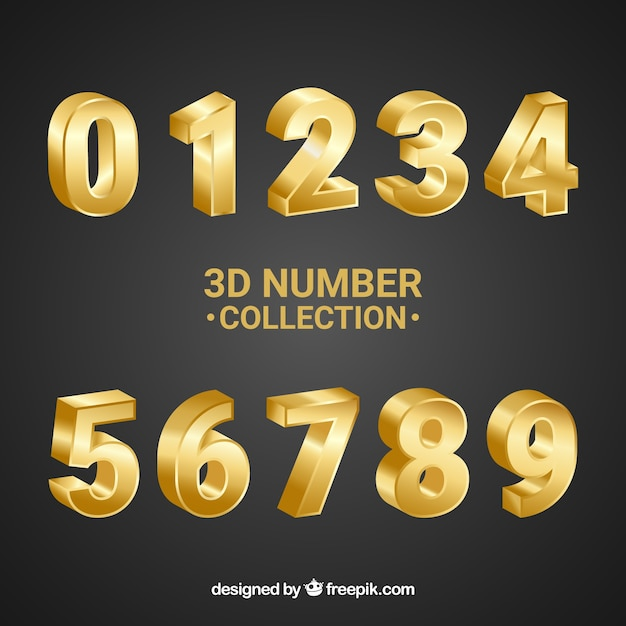 3d-nummer sammlung Premium Vektoren