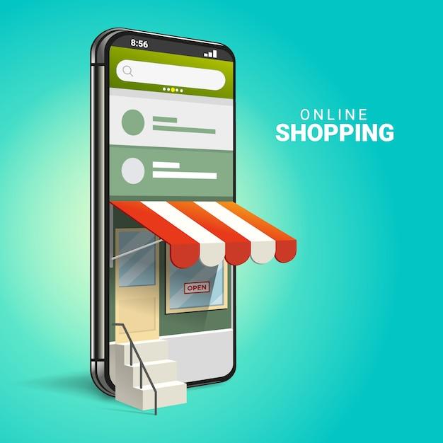 3d-online-shopping auf websites oder mobilen anwendungen konzepte von marketing und digitalem marketing. Premium Vektoren