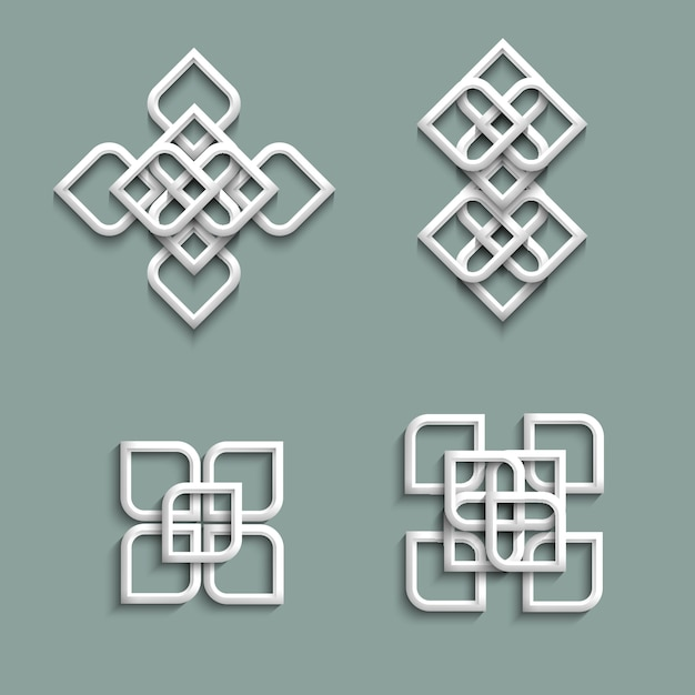 3d ornamente im arabischen stil Premium Vektoren