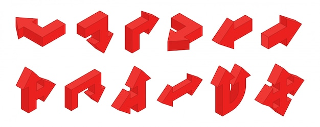 3d-pfeile. isometrische rote multidirektionale pfeile gesetzt Premium Vektoren