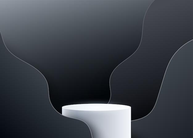 3d-podiumshintergrund mit schwarzen wellenflüssigkeitsformen. Kostenlosen Vektoren