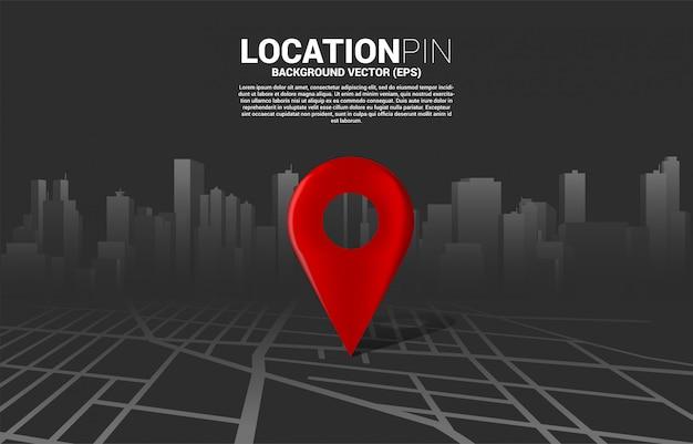 3d-positionsstiftmarkierung auf der straßenkarte der stadt. konzept für infografik des gps-navigationssystems Premium Vektoren
