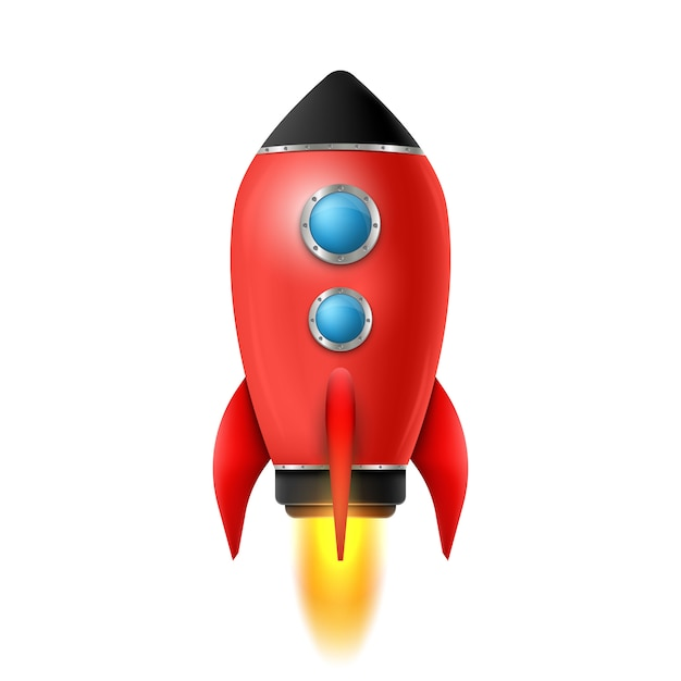 3d-raketenstart eines raumschiffs Premium Vektoren