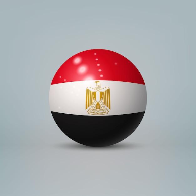 3d realistische glänzende plastikkugel oder kugel mit flagge von ägypten Premium Vektoren