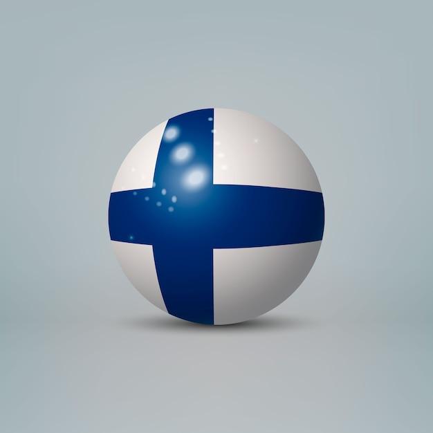 3d realistische glänzende plastikkugel oder kugel mit flagge von finnland Premium Vektoren