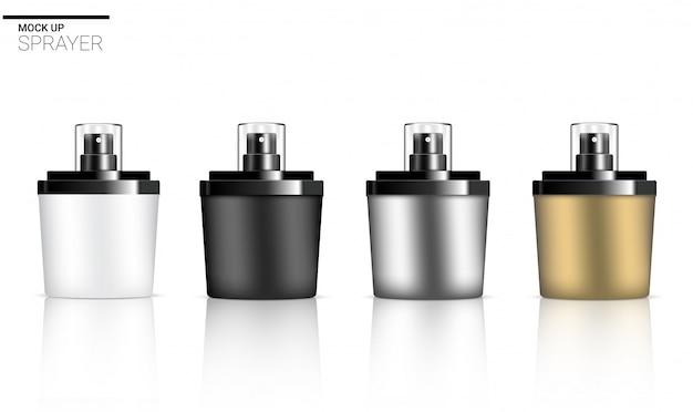 3d realistische sprühflasche parfüm kosmetische hautpflege-produkt Premium Vektoren