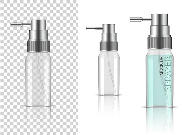 3d realistische transparente sprühflasche kosmetik oder lotion für die hautpflege produktverpackung mit silberner kappe Premium Vektoren