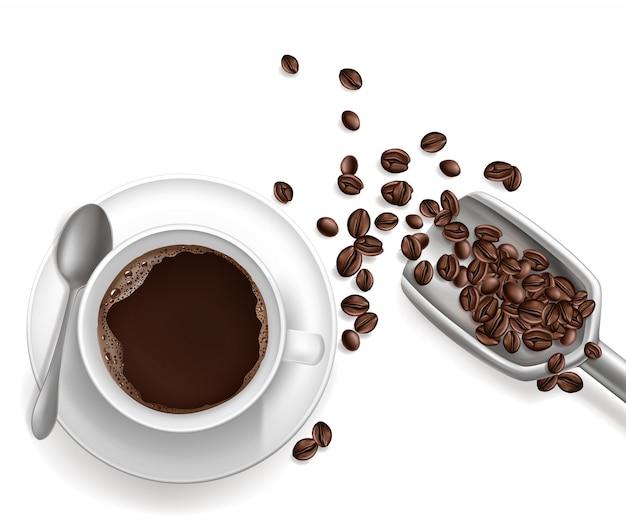 3d realistischer tasse kaffee, schaufel Kostenlosen Vektoren