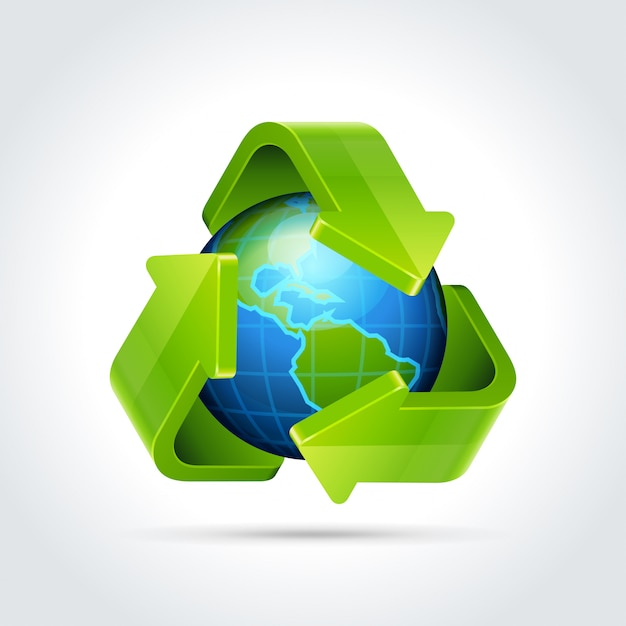 3d recyceln pfeilikone und erdkugelvektorillustration Premium Vektoren