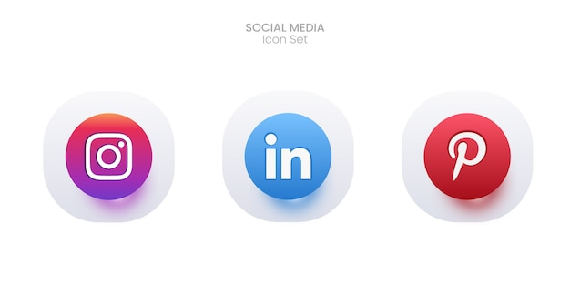 3d social media icon set Kostenlosen Vektoren
