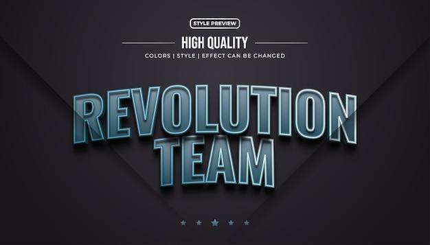 3d-spieltextstil mit metalleffekt für die identität des e-sportteams oder den logo-namen Premium Vektoren
