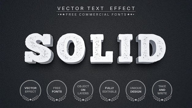 3d-steinext-texteffekt Premium Vektoren